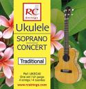 RC Strings UKSC40 Ukulele Soprano-Concert set. Clear Nylon - Struny do Ukulele