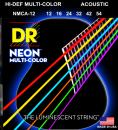 DR STRUNY DO GITARY AKUSTYCZNEJ NEON MULTI-COLOR 12-54