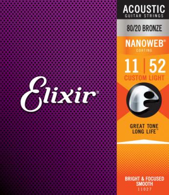 Elixir struny do gitary akustycznej NANOWEB 80/20 Bronze 11-52
