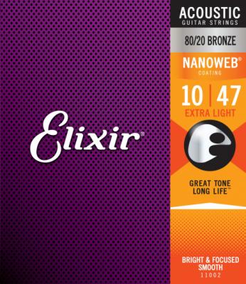 Elixir struny do gitary akustycznej NANOWEB 80/20 Bronze 10-47