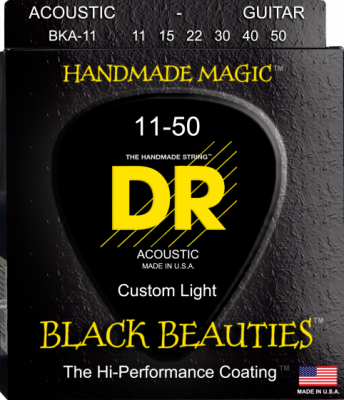 DR struny do gitary akustycznej BLACK BEAUTIES 11-50