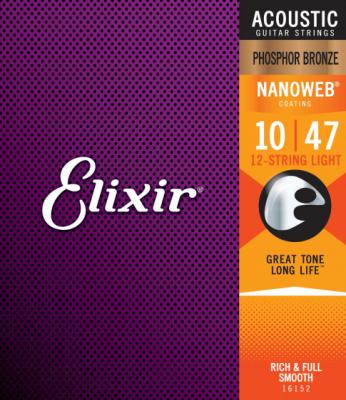 Elixir struny do gitary akustycznej NANOWEB Phosphor Bronze 10-47 12-str