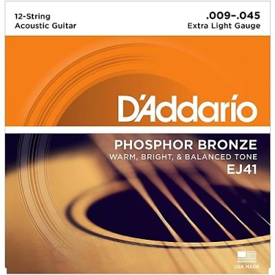 D'Addario EJ41 9-45 - struny do gitary akustycznej 12-str